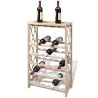 vidaXL Stojan na víno na 25 fliaš, jedľový masív