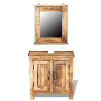 vidaXL Toaletná skrinka so zrkadlom, masívne mangové drevo