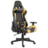 vidaXL Otočná herná stolička zlatá PVC