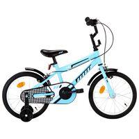 vidaXL Detský bicykel 16 palcový čierny a modrý