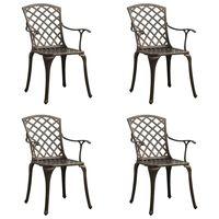 vidaXL Záhradné stoličky 4 ks odlievaný hliník bronzové