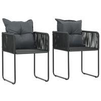 vidaXL Vonkajšie stoličky 2 ks s vankúšmi, polyratan, čierne