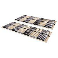 vidaXL Lamelové posteľné rošty 2 ks s 42 lamelami a 7 zónami 90x200 cm