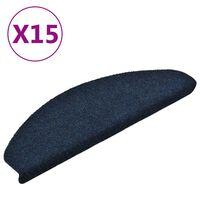 vidaXL Samolepiace nášľapy na schody 15 ks námornícke modré 65x21x4 cm vpichovaná textília
