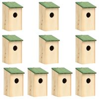 vidaXL Vtáčie búdky 10 ks 12x12x22 cm jedľové drevo