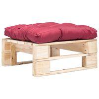 vidaXL Záhradná taburetka z paliet, červená podložka, prírodná, drevo