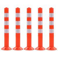 vidaXL Dopravné zahradzovacie stĺpiky, 5 ks plast 75 cm