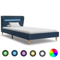 vidaXL Rám postele s LED svetlom modrý látkový 90x200 cm