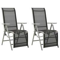 vidaXL Sklápacie záhradné stoličky 2 ks hliník a textilén strieborné