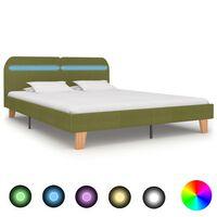 vidaXL Rám postele s LED svetlom zelený látkový 160x200 cm