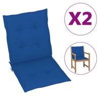 vidaXL Podložky na záhradné stoličky 6 ks, kráľovsky modré 100x50x4 cm