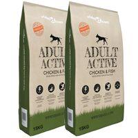 vidaXL Prémiové krmivo pre psov Adult Active Chicken & Fish 2 ks 30 kg