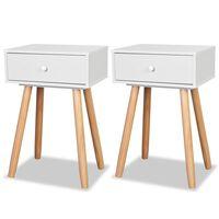 vidaXL Biele nočné stolíky, 2 ks, masívne borovicové drevo, 40x30x61 cm