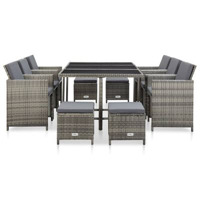 vidaXL 11-dielna záhradná sedacia súprava s vankúšmi sivá polyratanová