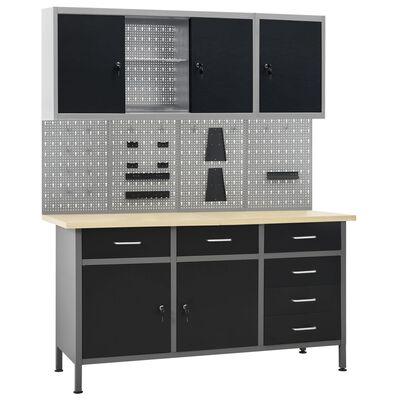 vidaXL Pracovný stôl so štyrmi nástennými panelmi a dvoma skrinkami