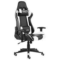 vidaXL Otočná herná stolička biela PVC