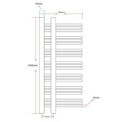 Rebríkový radiátor na centrálne vykurovanie v tvare E 500 x 1400 mm