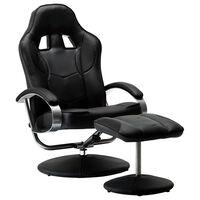 vidaXL Skladacia herná stolička s podnožkou čierna umelá koža