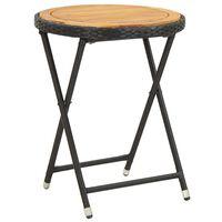 vidaXL Čajový stolík, čierny 60 cm, polyratan, akáciový masív