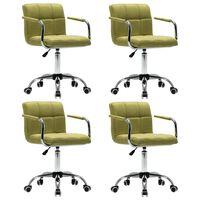 vidaXL Otočné jedálenské stoličky 4 ks, zelené, látka