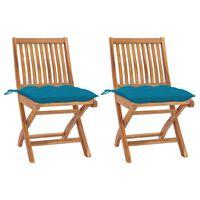vidaXL Záhradné stoličky 2 ks, svetlomodré podložky, tíkový masív