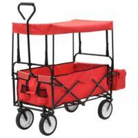vidaXL Skladací ručný vozík so strieškou oceľ červený