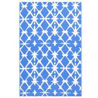 vidaXL Vonkajší koberec modro-biely 190x290 cm PP