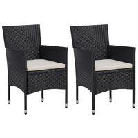 vidaXL Záhradné jedálenské stoličky 2 ks čierne polyratanové