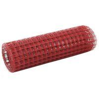 vidaXL Drôtené pletivo, oceľ potiahnutá PVC 25x0,5 m, červené