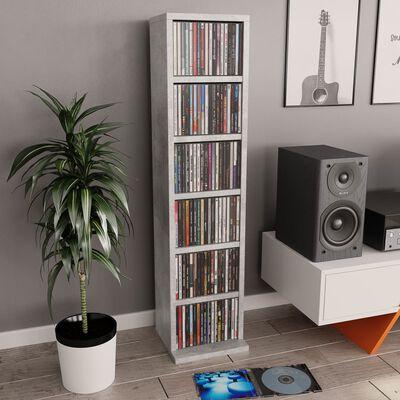 vidaXL Skrinka na CD, betónovo sivá 21x20x88 cm, drevotrieska