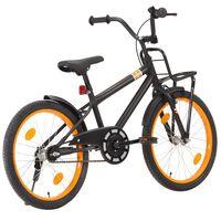 vidaXL Detský bicykel s predným nosičom čierny a oranžový 20 palcový