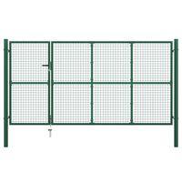 vidaXL Záhradná brána, oceľ 350x150 cm, zelená
