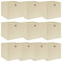 vidaXL Úložné boxy 10 ks krémové 32x32x32 cm látkové