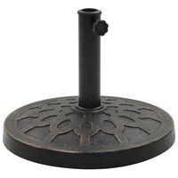 vidaXL Stojan na slnečník bronzový polyresinový okrúhly 13 kg