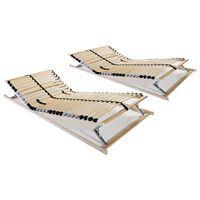 vidaXL Lamelové posteľné rošty 2 ks s 28 lamelami a 7 zónami 70x200cm
