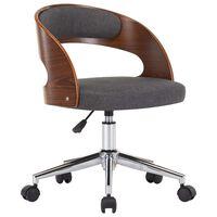 vidaXL Otočná kancelárska stolička sivá ohýbané drevo a látka