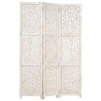 vidaXL Ručne vyrezávaný 3-panelový paraván biely 120x165 cm mangovníkový masív