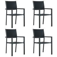 vidaXL Záhradné stoličky 4 ks čierne plastové ratanový vzhľad
