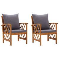 vidaXL Záhradné stoličky s vankúšmi 2 ks akáciový masív