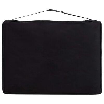 vidaXL Skladací masážny stôl, 3 zóny, drevo, čierno ružový