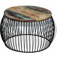 vidaXL Konferenčný stolík, okrúhly, recyklovaný masív 68x37 cm