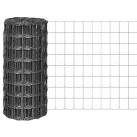 vidaXL Euro plot, oceľ 25x0,8 m, sivý