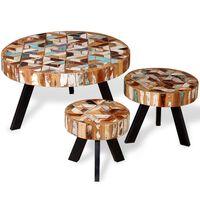 vidaXL Konferenčné stolíky 3 ks, recyklovaný masív