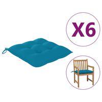 vidaXL Podložky na stoličku 6 ks, svetlomodré 50x50x7 cm, látka