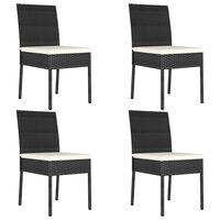 vidaXL Záhradné jedálenské stoličky 4 ks polyratanové čierne
