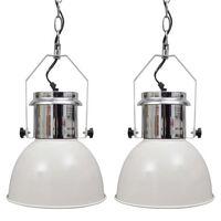 vidaXL Stropná lampa 2 ks, nastaviteľná výška, moderná, biela, kovová