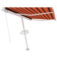 vidaXL Samostatne stojaca ručne zaťahovacia markíza 300x250 cm oranžovo-hnedá