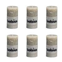 Bolsius Rustikálna valcová sviečka 130x68 mm, bridlicová 6 ks