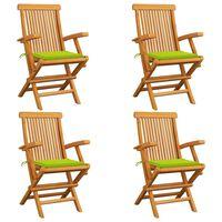 vidaXL Záhradné stoličky, jasnozelené podložky 4 ks, tíkový masív