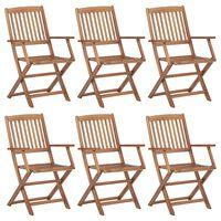vidaXL Skladacie záhradné stoličky 6 ks akáciový masív